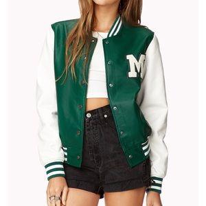Forever 21 Green and White Varsity Jacket